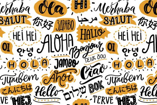 Collage saying hello in different languages around the world