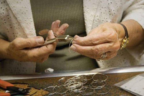 Shaping silver rings with pliers