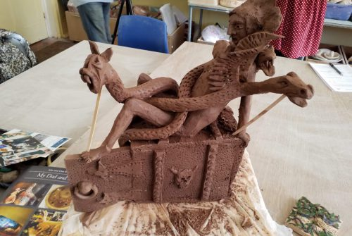 Pottery sculpture depicting giant serpents